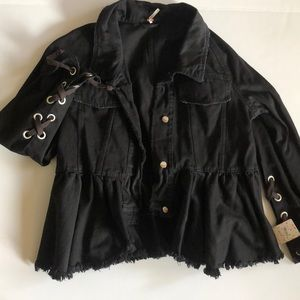 Free people peplum Jean jacket
